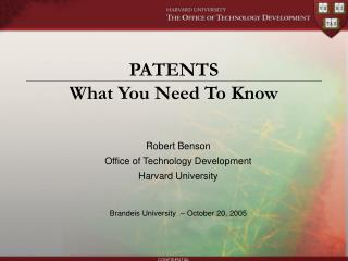 PATENTS What You Need To Know