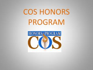 COS HONORS PROGRAM