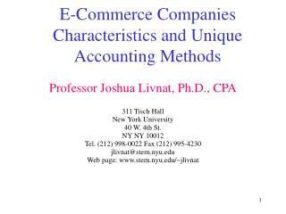 E-Commerce Companies Characteristics and Unique Accounting Methods