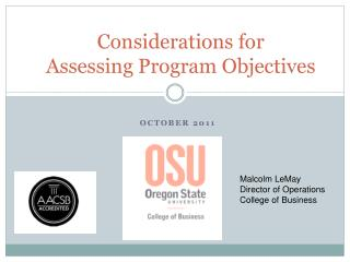 Considerations for Assessing Program Objectives