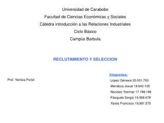 Universidad de Carabobo Facultad de Ciencias Econ micas y Sociales C tedra introducci n a las Relaciones Industriales Ci