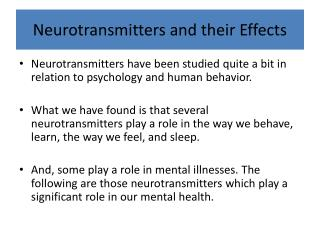 Neurotransmitters and their Effects