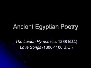 Ancient Egyptian Poetry