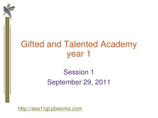 Gifted and Talented Academy year 1