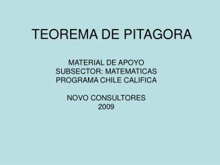 TEOREMA DE PITAGORA