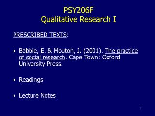 PSY206F Qualitative Research I