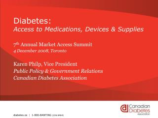 Diabetes: Access to Medications, Devices  Supplies