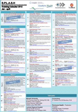 S.P.L.A.S.H Southeast, Peninsula health, Latrobe regional hospital, Alfred, Southern Health Training Calendar 2012 Jan -