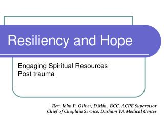 Resiliency and Hope