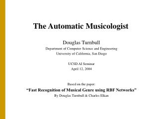 The Automatic Musicologist