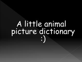 A little animal picture dictionary :