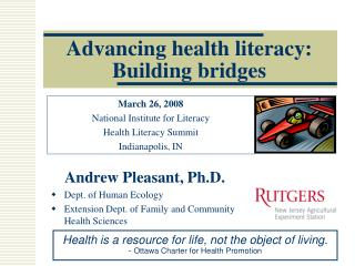 Advancing health literacy:  Building bridges