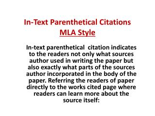 In-Text Parenthetical Citations MLA Style