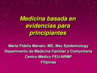 Medicina basada en evidencias para principiantes
