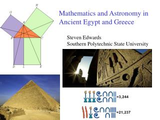Mathematics and Astronomy in  Ancient Egypt and Greece