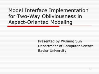 Model Interface Implementation for Two-Way Obliviousness in Aspect-Oriented Modeling