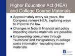 Higher Education Act HEA and College Course Materials