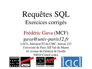Requ tes SQL Exercices corrig s