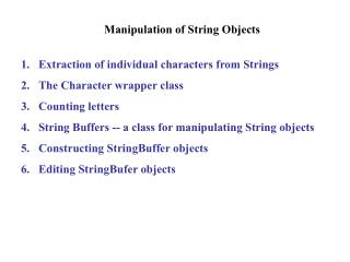 Manipulation of String Objects