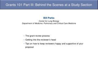 Grants 101 Part III: Behind the Scenes at a Study Section