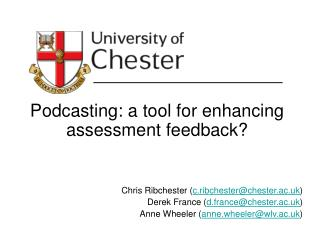 Podcasting: a tool for enhancing assessment feedback