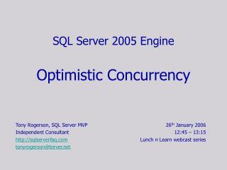 SQL Server 2005 Engine   Optimistic Concurrency
