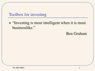 Toolbox for investing