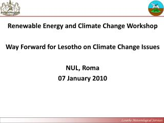 Way Forward for Lesotho on Climate Change Issues