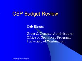 OSP Budget Review