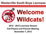 2012 - 2013 Lacrosse Season Fall Players and Parents Meeting November 7, 2012