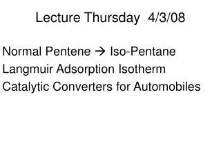 Lecture Thursday  4