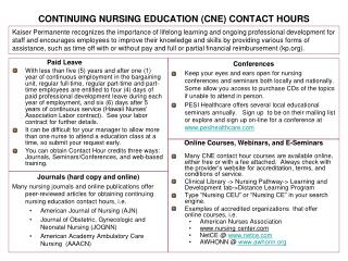 CONTINUING NURSING EDUCATION CNE CONTACT HOURS