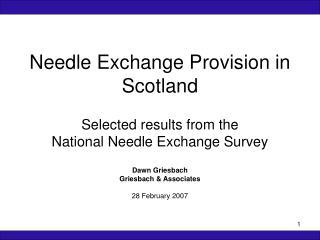 Needle Exchange Provision in Scotland