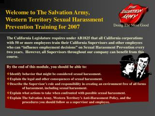 Welcome to The Salvation Army, Western Territory Sexual Harassment Prevention Training for 2007