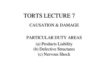 TORTS LECTURE 7