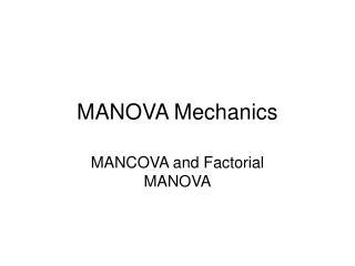 MANOVA Mechanics