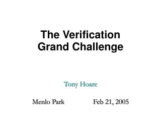 The Verification  Grand Challenge