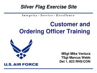 Customer and  Ordering Officer Training