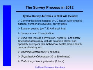 The Survey Process in 2012