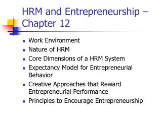 HRM and Entrepreneurship   Chapter 12