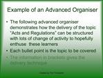Example of an Advanced Organiser