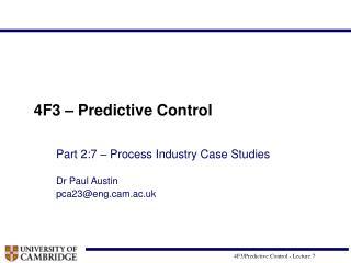 4F3   Predictive Control