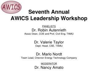 PANELISTS Dr. Robin Autenrieth  Assoc Dean, COE and Prof, Civil Eng, TAMU  Dr. Valerie Taylor  Dept. Head, CSE, TAMU  Dr