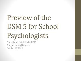 Preview of the  DSM 5 for School Psychologists