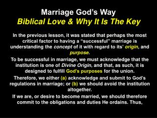 Marriage God s Way Biblical Love  Why It Is The Key