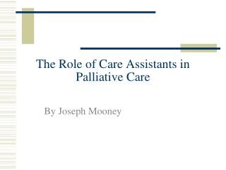 The Role of Care Assistants in Palliative Care