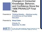 Changes in Consumer Knowledge, Behavior, and Confidence Since the 1996 PR