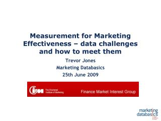 Measurement for Marketing Effectiveness   data challenges and how to meet them