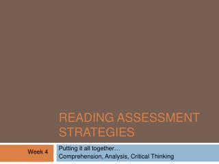 Reading Assessment Strategies