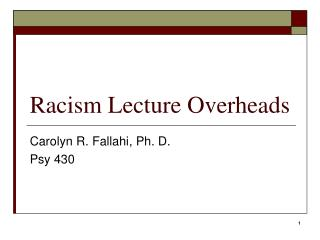 Racism Lecture Overheads